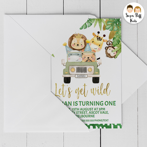 Boys Safari Animals And Jeep Birthday Invitation