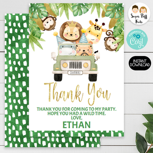 Boys Safari Animals And Jeep Thank You Card