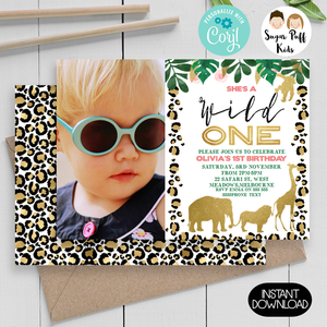 Wild One Safari Photo Leopard Skin Birthday Invitation
