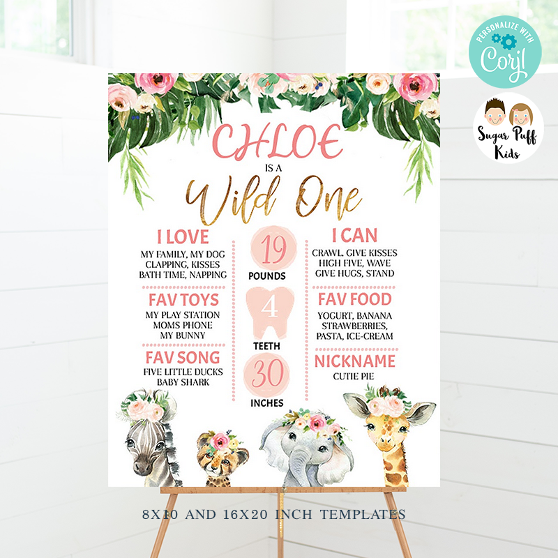 Girl's Wild Floral Safari Animals First Birthday Milestone Poster Board