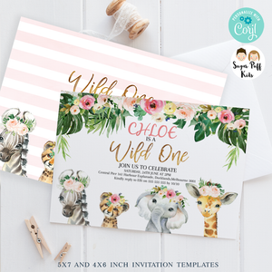 Girl's Wild One Floral Safari Animals Birthday Invitation