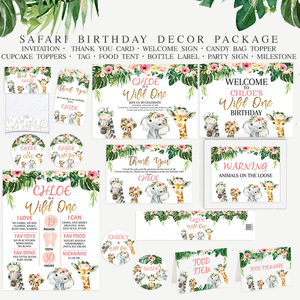 Floral Safari Animals Birthday Party Printables - Package