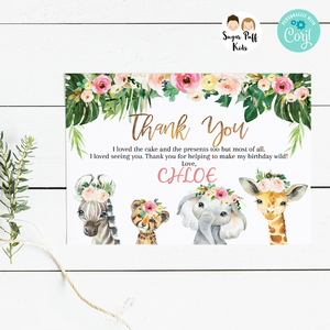 Girls Wild One Floral Safari Animals Thank You Card