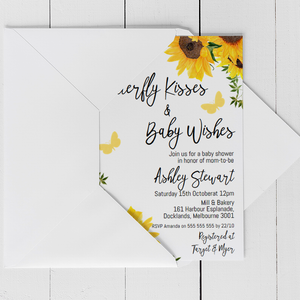 Modern Sunflower Butterfly Baby Shower Invitation