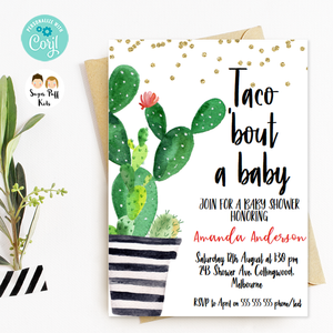 Fiesta Cactus Pot Taco Bout A Baby Baby Shower Invitation