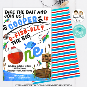 Take the bait fishing birthday invitation 4x6