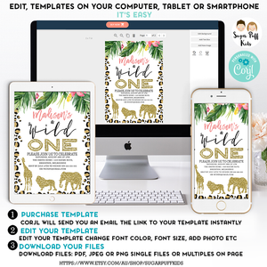 Girl's Tropical Safari Wild One Birthday Invitation - Printable