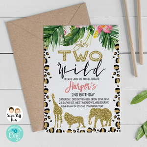 Tropical Safari Two Wild Birthday Invitation - Printable