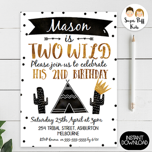 Boys Tribal Two Wild Birthday Invitation