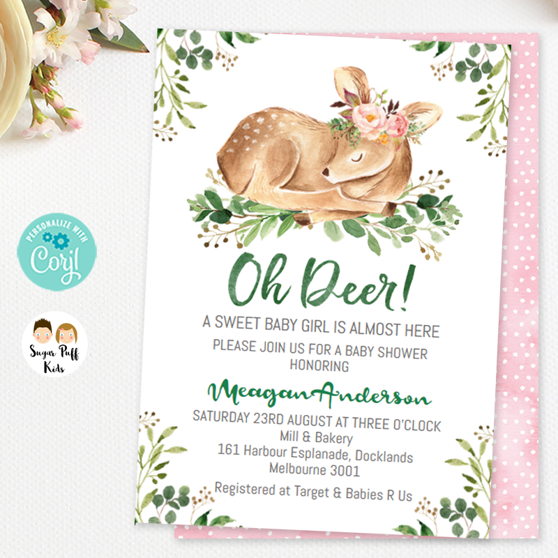 Woodland Oh Deer Baby shower Invitation