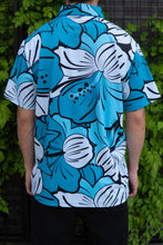 Load image into Gallery viewer, Blue Big Hibiscus Button Down (Back)
