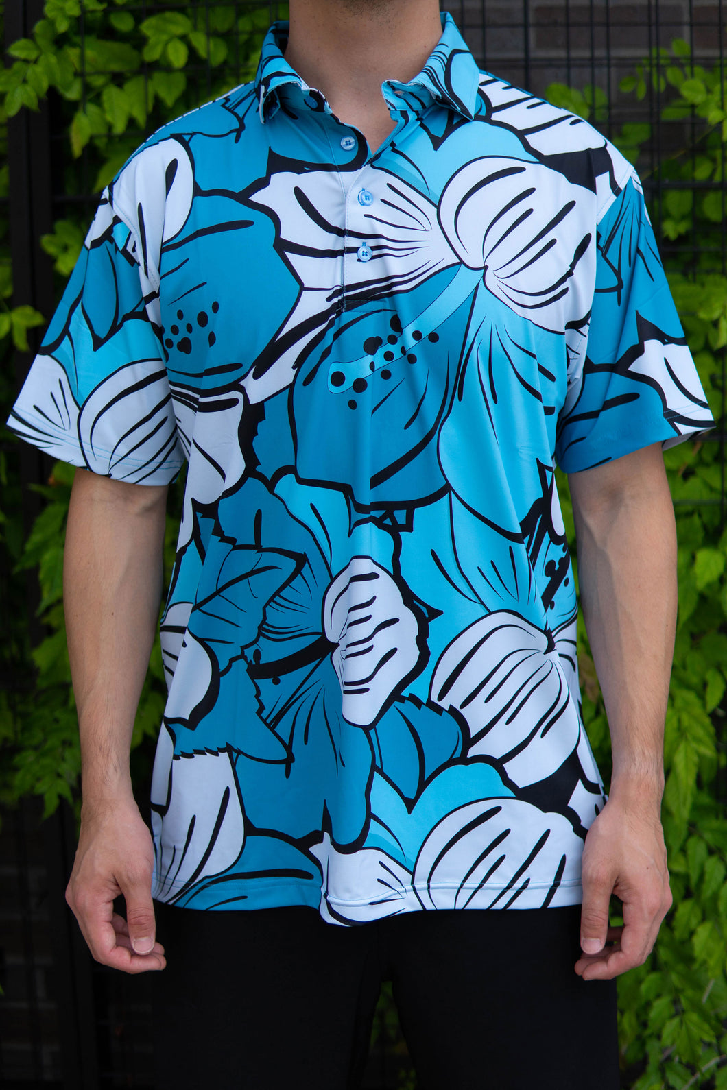 Blue Big Hibiscus Button Down (Front)