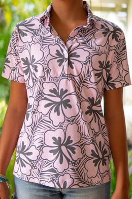 Pink and Gray Hibiscus Polo
