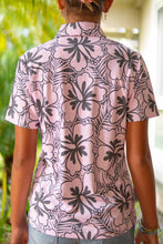 Load image into Gallery viewer, Pink and Gray Hibiscus Polo