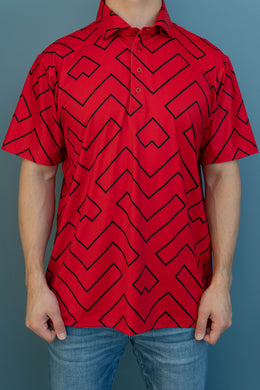 Red Black Geometric Polo (Front)