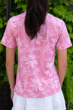 Load image into Gallery viewer, Rose Hibiscus Polo (Back)