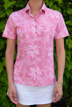 Load image into Gallery viewer, Rose Hibiscus Polo (Front)