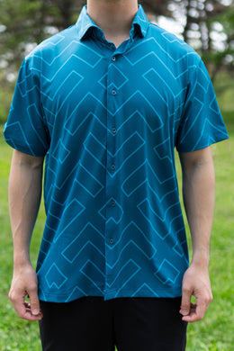 Teal Geometric Button Down (Front)