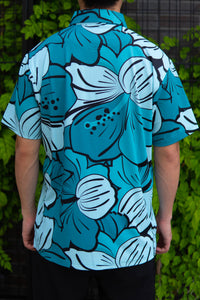 Turquoise Big Hibiscus Button Down (Back)