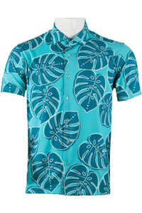 Turquoise Monstera Button Down