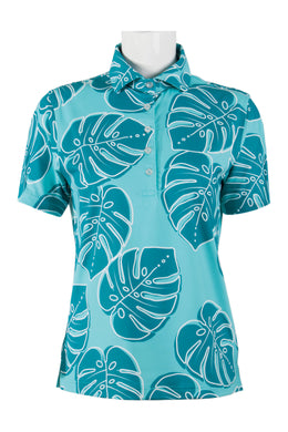 Turquoise Monstera Polo