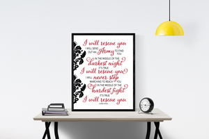 Rescue by Lauren Daigle | Lyrics Wall Art