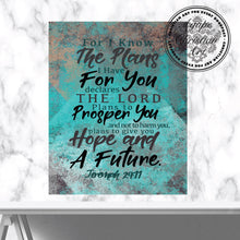 Load image into Gallery viewer, For I Know The Plans I Have For You | Jeremiah 29:11 Art Print (Teal)