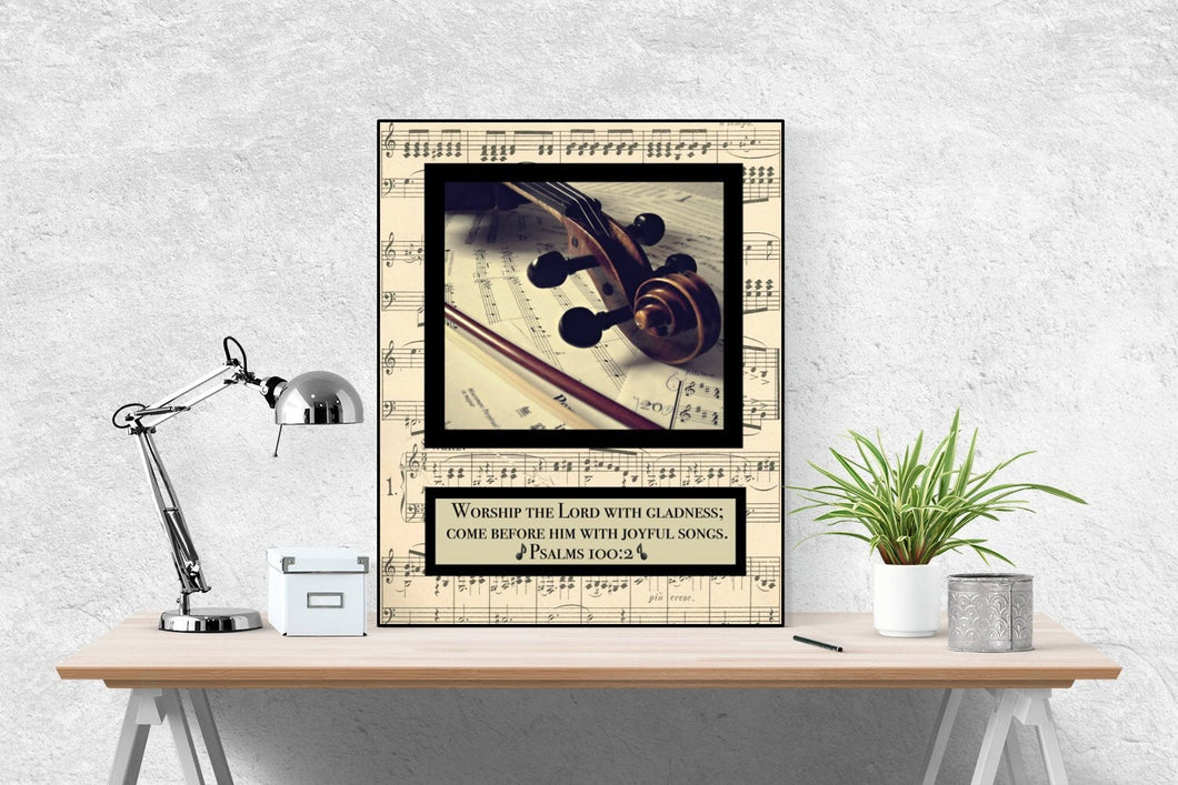 Joyful Violin | Psalm 100:2 Art Print