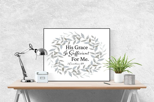 2 Corinthians 12:9 Art Print | His Grace Is Sufficient (Grey)