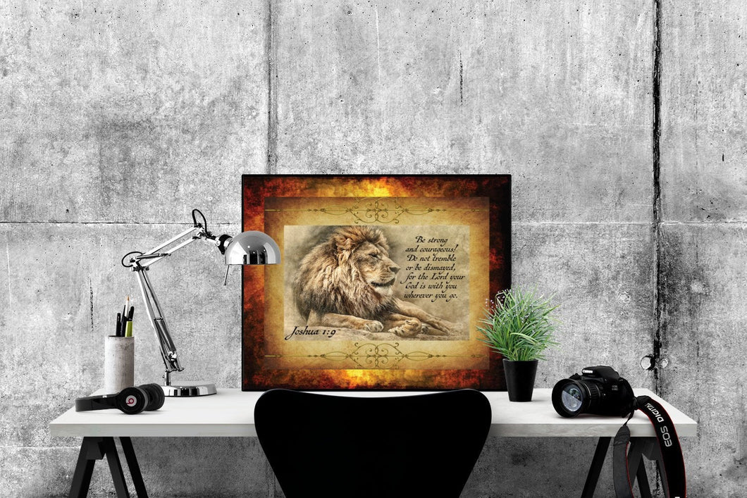 Be Strong & Courageous | Joshua 1:9 Art Print (Lion)