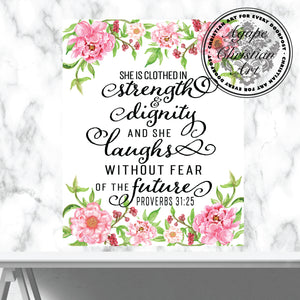 Proverbs 31:25 Art Print | She Is Clothed In Strength And Dignity