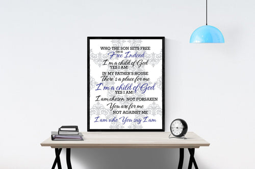 Who You Say I Am by Hillsong Worship Song | Lyrics Art Print