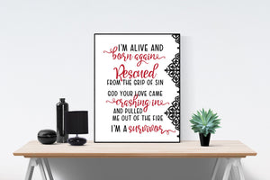 Survivor by Zach Williams | Lyrics Art Print