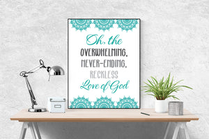 Reckless Love by Cory Asbury | Lyrics Art Print