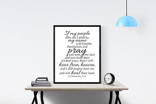 2 Chronicles 7:14 Art Print | Hear From Heaven and I Will Forgive