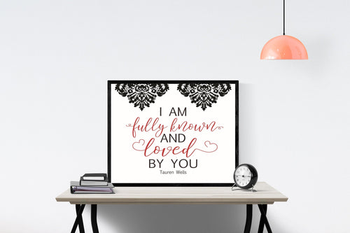 Known by Tauren Wells (Damask) | Lyrics Wall Art Print