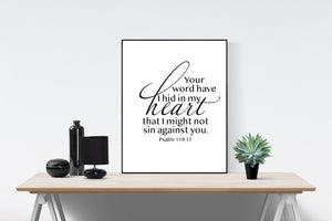 Psalm 119:11 Art Print | Your Word Have I Hid In My Heart