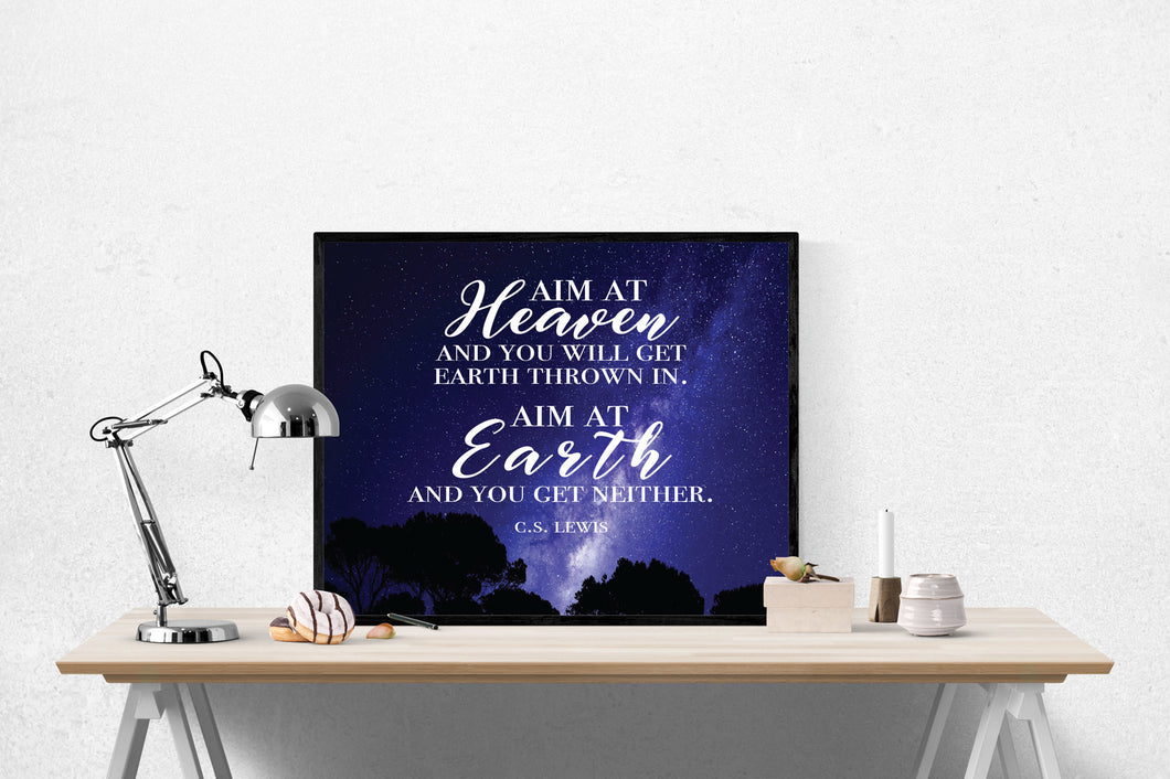 C.S. Lewis Quote Art Print | Aim At Heaven 2