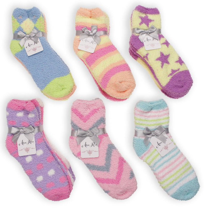 Alexa Rose Fuzzy Pastel Patterned Socks 3-pack MISC.ACC.SOCKS LADIES GOLD MEDAL HOSIERY