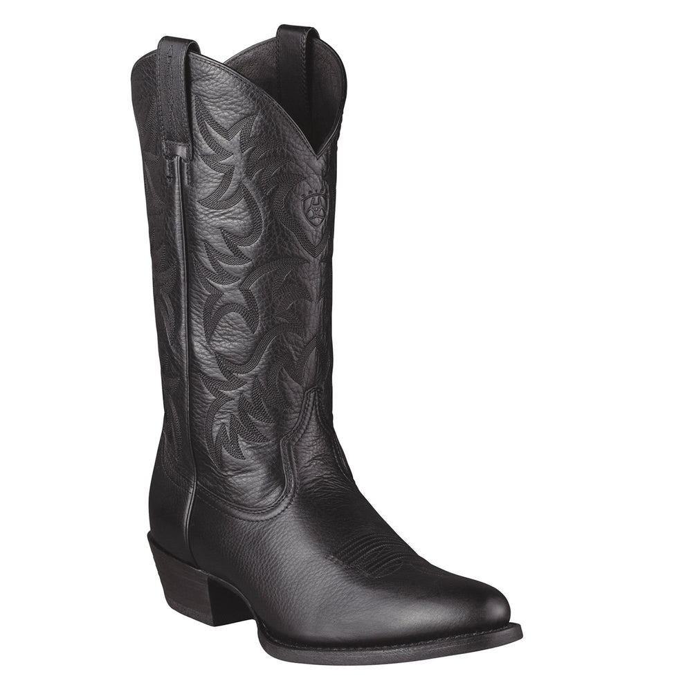 "Ariat Men's 12"" Hertitage Western Black Deertan - R Toe MENS BOOTWESTERN RUBBER SOLE ARIAT INTERNATIONAL, INC."