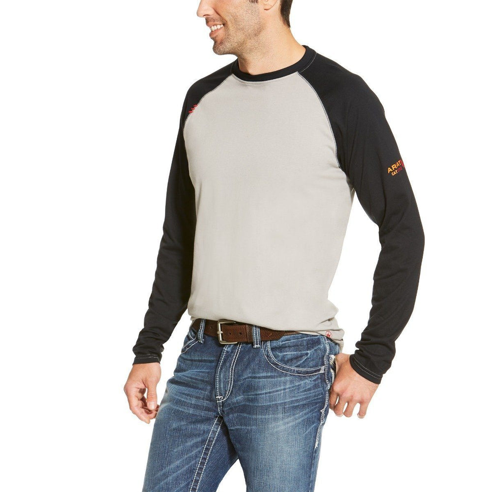 Ariat Men's Flame-Resistant Gray and Black Baseball Tee ME.AP.FLAME RESISTANT ARIAT INTERNATIONAL, INC.