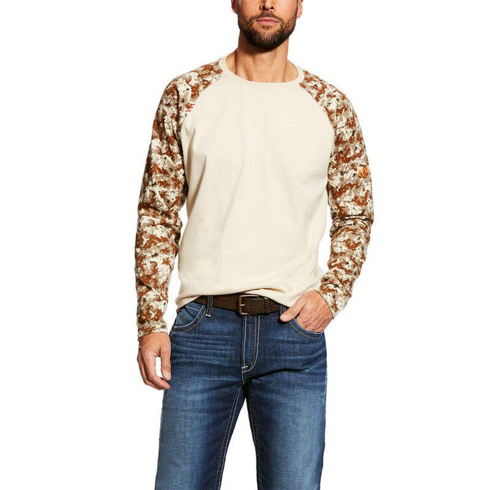 Ariat Men's - Sand Camo FR Baseball T-Shirt ME.AP.FLAME RESISTANT ARIAT INTERNATIONAL, INC.