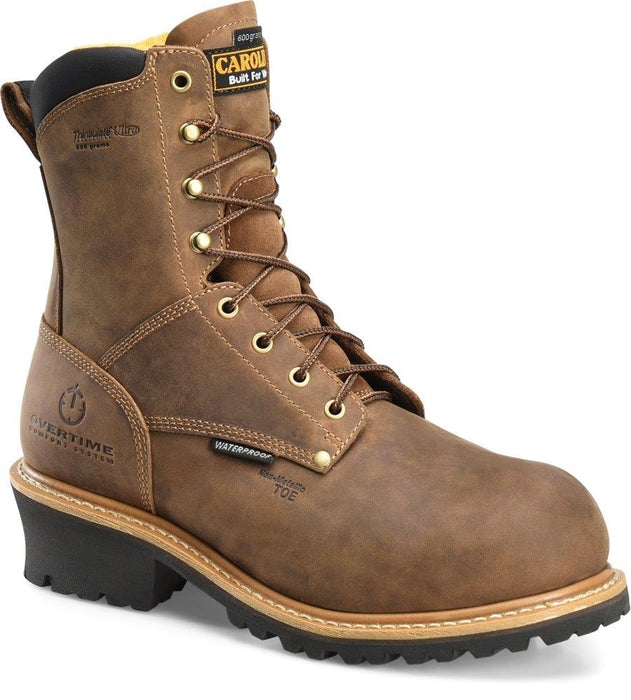 "Ca9851 D Brn 8"" Wtr Insul Comp MENS LACEINSULATEDSAFETY CAROLINA SHOE COMPANY"