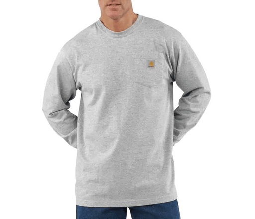 Carhartt Men's - Heather Gray Pocket Long Sleeve WORK AP. L/S KNIT TSHIRT CARHARTT, INC.