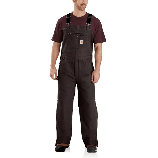 Carhartt Men's - Quilt-Lined Washed Duck - Dark Brown Bib Overalls WORK AP.BIB INSULATED CARHARTT, INC.