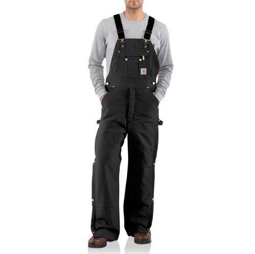Carhartt Men's Quilt-Lined Zip-To-Thigh Bib Overalls - Black WORK AP.BIB INSULATED CARHARTT, INC.
