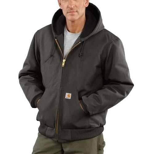 Carhartt Men's Quilted Flannel Lined Duck Active Jac - Gravel WORK AP.OUTERWEAR INSULATED CARHARTT, INC.