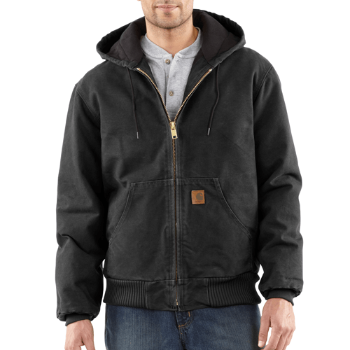 Carhartt Men's Quilted-Flannel-Lined Sandstone Active Jacket - Black WORK AP.OUTERWEAR INSULATED CARHARTT, INC.
