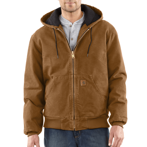 Carhartt Men's Quilted-Flannel-Lined Sandstone Active Jacket - Brown WORK AP.OUTERWEAR INSULATED CARHARTT, INC.