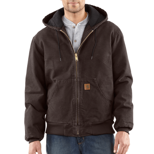 Carhartt Men's Quilted-Flannel-Lined Sandstone Active Jacket - Dark Brown WORK AP.OUTERWEAR INSULATED CARHARTT, INC.